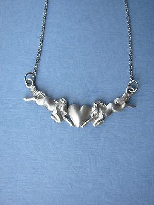 "2 Horses with Heart - Lead Free Pendant c/w 18"" Chain"