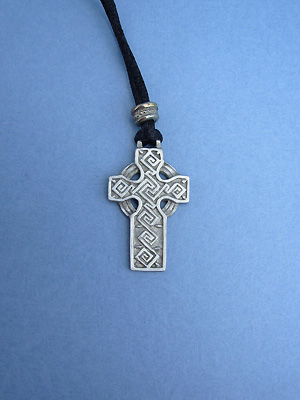 Labyrinth Cross Lead Free Pewter Medium Pendant c/w Cord