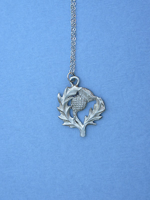 """Thistle Lead Free Pewter Pendant c/w 18"""" Chain"""