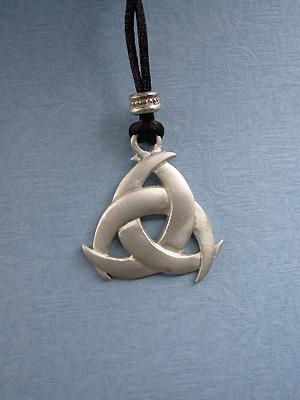 Triple Moon Lead Free Pewter Medium Pendant c/w Cord