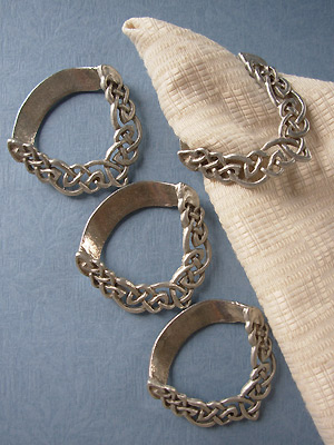 Endless Interlace Set of 4 Napkin Rings - Lead Free Pewter