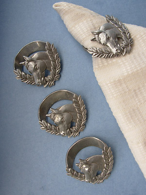 Horse /Wreath Napkin Rings - Lead Free Pewter