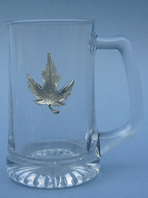 Solid Maple Leaf Beer Mug - Lead Free Pewter