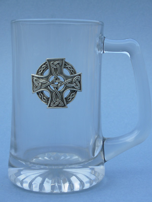 Celtic Knotwork Cross Beer Mug - Lead Free Pewter