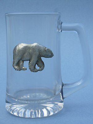 Walking Polar Bear Beer Mug - Lead Free Pewter