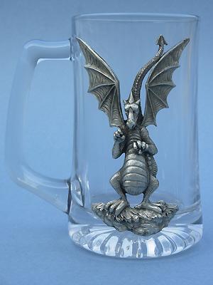 Lg. Dragon Beer Mug - Lead Free Pewter
