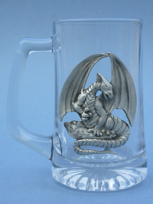 Sitting Dragon Beer Mug - Lead Free Pewter