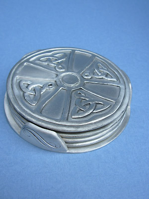 Ardagh Chalice Cross Coaster set of 4 w/ Stand - Lead Free Pewter