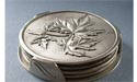 Maple Leaf Coaster Set of 4 w/ Stand - Lead Free Pewter