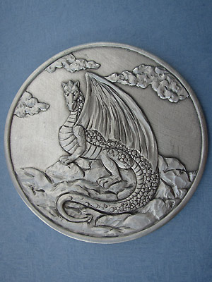 Sitting Dragon Coaster - Lead Free Pewter