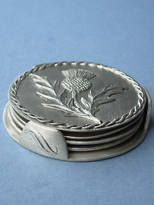 Thistle Coasters Set of 4 w/ Stand - Lead Free Pewter