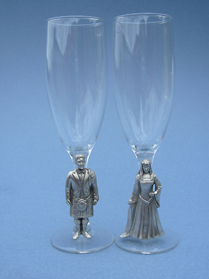 Highland Bride & Groom on Champagne Glass Stem - Lead Free Pewter - Pair
