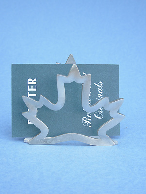 Open Maple Leaf Business Card Holder - Lead Free Pewter