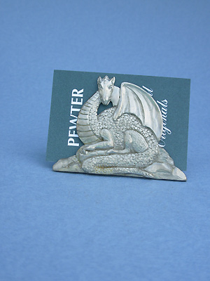 Sitting Dragon Business Card Holder - Lead Free Pewter