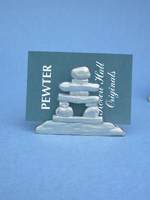 Inukshuk Business Card Holder - Lead Free Pewter