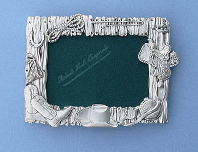 3.5x5 Western Picture Frame - Lead Free Pewter