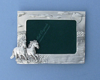 3.5x5 Two Horses Picture Frame - Lead Free Pewter
