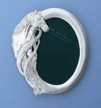 5x7 Oval Horse Picture Frame - Lead Free Pewter