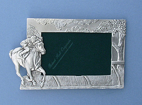 4x6 Jockey Picture Frame - Lead Free Pewter