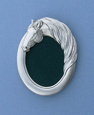 2x3 Oval Horse Head Picture Frame - Lead Free Pewter