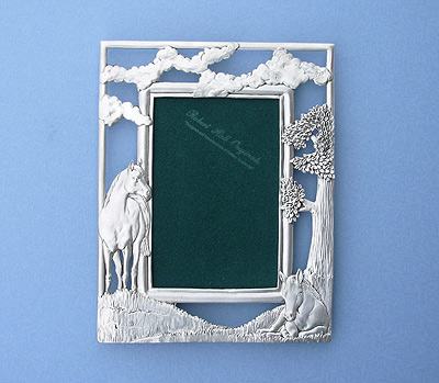 4x6 Mare & Foal Picture Frame - Lead Free Pewter