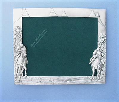 8x10 Jockey Picture Frame - Lead Free Pewter