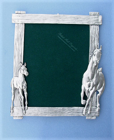8x10 Mare & Foal Picture Frame - Lead Free Pewter