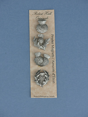 Thistle- Set of 4 Magnets - Lead Free Pewter
