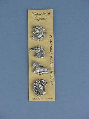 Horse - Set of 4 Magnets - Lead Free Pewter