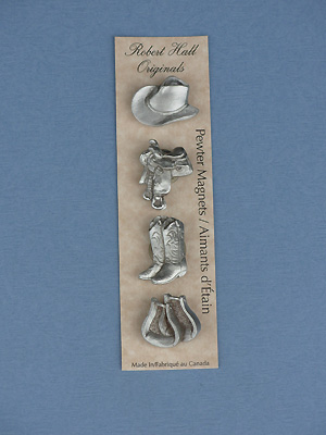 Western - Set of 4 Magnets - Lead Free Pewter
