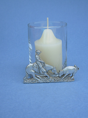 Cutting Horse  - Lead Free Pewter Two Piece Votive w/ Candle