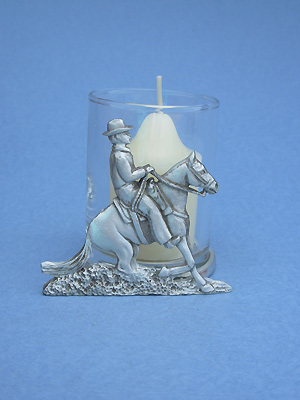 Reining Horse Two Piece Votive Holder - Lead Free Pewter