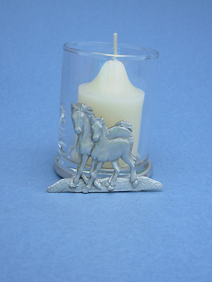 Mare & Foal Two Piece Votive Holder - Lead Free Pewter