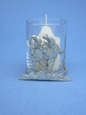 Jockey Double Two Piece Votive Holder - Lead Free Pewter