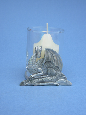 Sitting Dragon Two Piece Votive Holder - Lead Free Pewter