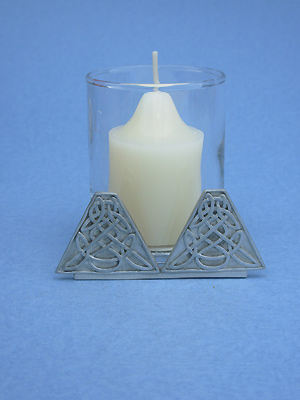 Triangles Two Piece Votive Holder - Lead Free Pewter
