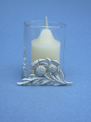 Thistle - Lead Free Pewter Two Piece Votive w/ Candle