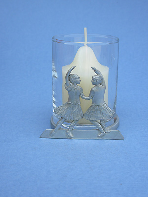Highland Dancers - Lead Free Pewter Two Piece Votive w/ Candle