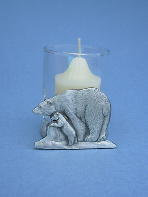 Mother & Baby Polar Bear Two Piece Votive Holder - Lead Free Pewter