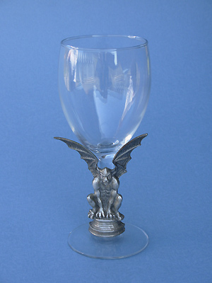 Gargoyle on Stem of Wine Glass - Lead Free Pewter