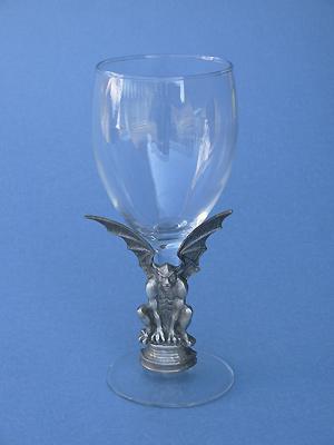 Gargoyle on Stem of Wine Glass - Lead Free Pewter