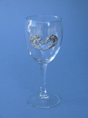 Horse /Hearts Wine Glass - Lead Free Pewter