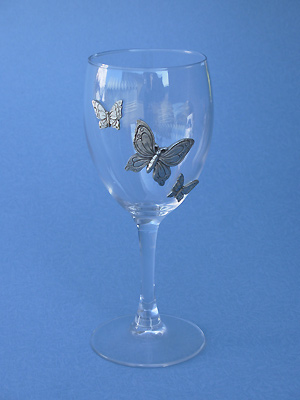 3 Butterflies Wine Glass - Lead Free Pewter