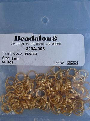 8mm Gold Plated Split Rings - Gross - 144pcs.