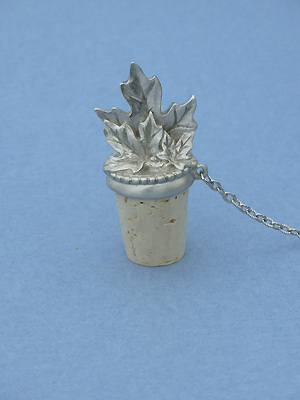 Double Maple Leaf  Wine Stopper - Lead Free Pewter