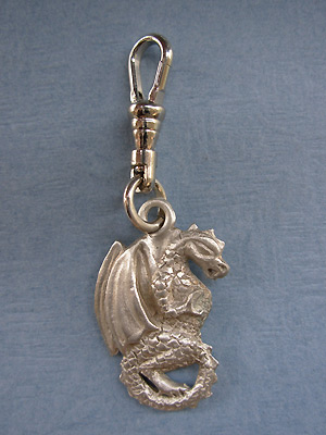 Dragon with Curled Tail Zipper Puller Lead Free Pewter