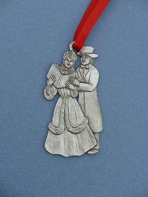 Carolling Couple Christmas Ornament - Lead Free Pewter